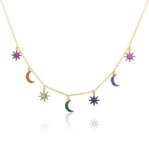 Sonne Mond Sterne Kette