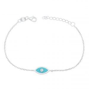 Blaue Auge Armband Echt 925 Sterling Silber