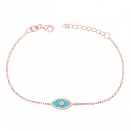 Blaue Auge Armband Rosé Vergoldet