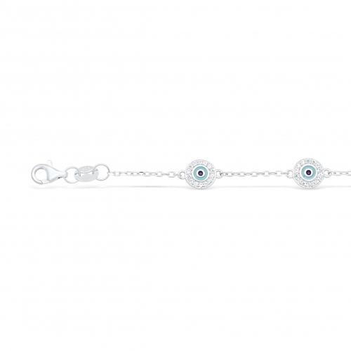 Blaue Auge Armband 925 Sterling Silber
