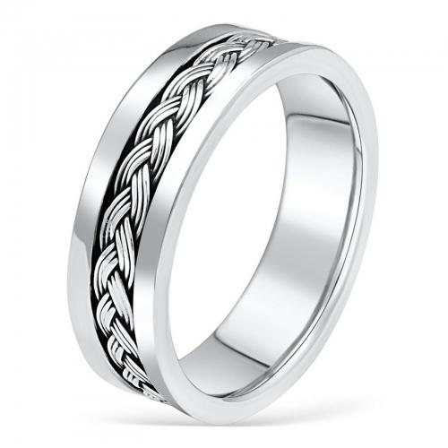 Ring mit oxidiertem Flechtmuster 925er Silber