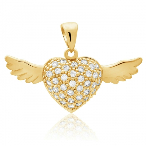 Herz mit Flügel Anhänger 585er Gelb Gold