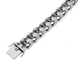 Panzerarmband mit Totenköpfen 925er Silber