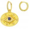 Blaue Auge Creolen 585er Vergoldet