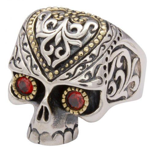 Totenkopf Ring Vergoldet -1